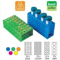 Racks a quattro lati. Per provette da 50-15 - 1,5/2 - 0,5ml. Colori assortiti. 5 pezzi