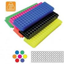 Rack portaprovettea 80 posti per provette da 1,5ml. 5 pezzi in colori assortiti