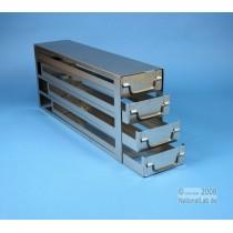 Sistema a 4 cassetti ognuno contenente 4 Cryoboxes da 50mm. (16 cryoboxes in totale). Dimensioni 580x24