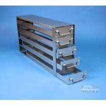 Sistema a 5 cassetti ognuno contenente 4 cryoboxes da 50mm. (20 cryoboxes in totale). Dimensioni 580x30