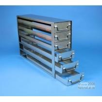 Sistema a 6 cassetti ognuno contenente 4 Cryoboxes da 50mm. (24 cryoboxes in totale). Dimensioni 580x36