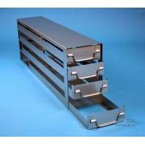 Sistema a 4 cassetti ognuno contenente 5 Cryoboxes da 50mm. (20 cryoboxes in totale). Dimensioni 716x24