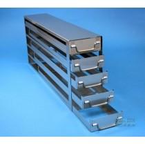 Sistema a5 cassetti ognuno contenente 5 Cryoboxes da 50mm. (25 cryoboxes in totale). Dimensioni 716x306