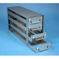 Sistema a 3 cassetti ognuno contenente 4 Cryoboxes da 50mm. (12 cryoboxes in totale). Dimensioni 580x18