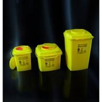 Contenitori per rifiuti speciali e taglienti in PP  da 5 lt.  forma quadrata  con sistema di aggancio carrello