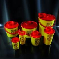 Contenitori per rifiuti speciali e taglienti in PP  da 5 lt.  forma rotonda-Cf.55pz