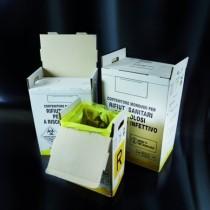 Contenitori per rifiuti sanitari pericolosi in cartone completi di sacco giallo a fascetta autobloccante da 60L 377x278x542mm