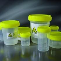 contenitori in PP per pezzi chirurgici con tappo a vite ed etichetta BIOHAZARD CE Ø 52x77 mm da 120 ml