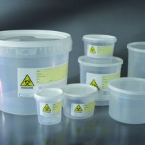 containers for pieces of surgical pressure cap with the label BIOHAZARD CE Ø 75x66 mm 150 ml