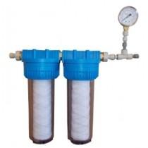 Set pre-filtrazione esterna (polyphosphate/carbon/1 µm) con manometro compatibile con sistemi acqua di rete
