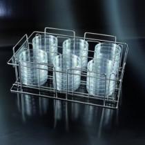 rack per piastre di petri Ø 90 mm in acciaio inox per 36 piastre