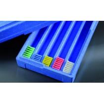 contenitore per archiviazione cassette e vetrini in polistirolo espanso blu