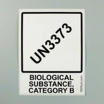 Etichette pre-stampate 100x100 per trasporto campioni con stampa UN3373 P650