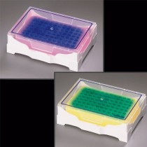 Isofreeze rack per mantenimento temperatura a 4°C di tubi PCR a 96 posti. Cambio colore da viola a rosa al superamento d