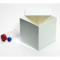 Box in cartone 133x133 senza divisore&#44 bianco &#45 per provette 15 e 50ml fondo conico