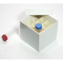 Box in cartone rivestito 148x148 con divisore 4x4&#44 bianco per provette 50ml fondo conico