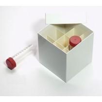 Box in cartone rivestito 122x122 con divisore 3x3&#44 bianco &#45 per provette 50ml fondo conico