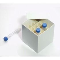 Box in cartone rivestito 122x122 con divisore 5x5&#44 bianco &#45 per provette 15ml fondo conico