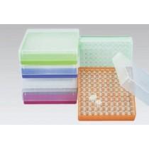 Box in PP 130x130mm. 100 posti per microtubi 0.5ml tipo Safe&#45Lock. Nero