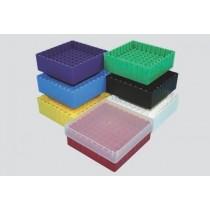 Box in PP 130x130mm. 81 posti per microtubi vial 1.5 / 2ml. Nero