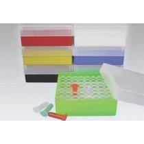 Box in PP 130x130mm. 64 posti per microtubi 1.5 e 2ml tipo Safe&#45Lock. Nero &#45Cf 10pz