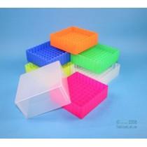 Box in PP 130x130mm. 81 posti per vial 5ml. Nero