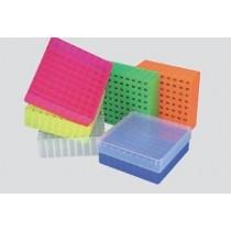 Box in PP 130x130mm. 81 posti per microtubi vial 1.5 / 2ml. Griglia alfa&#45numerica laterale e sul fondo. Nero