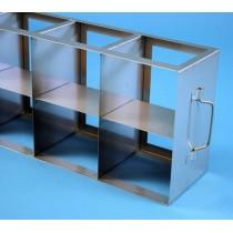 Rack orizzontale acciaio griglia 4x2 &#458 box per provette tipo Falcon &#45Dim. 142x565x279mm