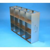 Rack orizzontale acciaio griglia 4x3 &#4512 box per provette tipo Falcon &#45Dim. 142x565x409mm
