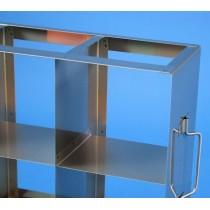 Rack orizzontale acciaio griglia 5x3 &#4515 box alti per provette tipo Falcon &#45Dim. 142x705x409mm