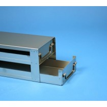 Rack a cassetti acciaio &#44 2 cassetti x 2 box microt/vial 2ml&#45Dim 145x308x123 (LxPxH)