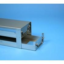 Rack a cassetti acciaio &#44 2 cassetti x 2 box microt/vial 2ml&#45Dim 145x293x116 (LxPxH)