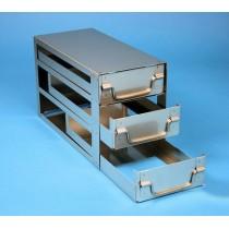Rack a cassetti acciaio &#44 3 cassetti x 2 box microt/vial 2ml&#44 &#45Dim 145x308x184 (LxPxH)