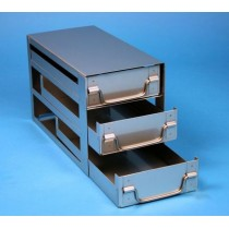 Rack a cassetti acciaio &#44 3 cassetti x 2 box microt/vial 2ml&#45Dim 145x308x184 (LxPxH)
