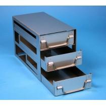 Rack a cassetti acciaio &#44 3 cassetti x 2 box microt/vial 2ml&#45Dim 145x293x173 (LxPxH)