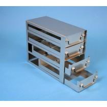 Rack a cassetti acciaio &#44 4 cassetti x 2 box microt/vial 2ml&#44 &#45Dim 145x308x245 (LxPxH)