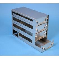 Rack a cassetti acciaio &#44 4 cassetti x 2 box microt/vial 2ml&#45Dim 145x308x245 (LxPxH)