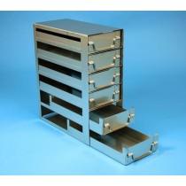 Rack a cassetti acciaio &#44 6 cassetti x 2 box microt/vial 2ml&#45Dim 145x308x367 (LxPxH)