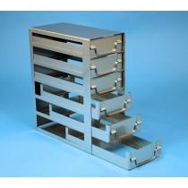 Rack a cassetti acciaio &#44 6 cassetti x 2 box microt/vial 2ml&#45Dim 145x293x346 (LxPxH)
