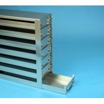 Rack a cassetti acciaio &#44 7 cassetti x 2 box microt/vial 2ml&#45Dim 145x308x428 (LxPxH)
