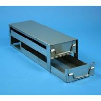 Rack a cassetti acciaio &#44 2 cassetti x 3 box microt/vial 2ml&#45Dim 145x444x123 (LxPxH)