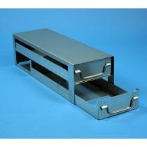 Rack a cassetti acciaio &#44 2 cassetti x 3 box microt/vial 2ml&#45Dim 145x429x116 (LxPxH)