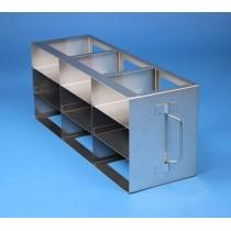 Rack orizzontale acciaio griglia 3x3 (orizz / vert) 9 box per microt/vial 2ml&#44 &#45Dim. 142x426x169mm