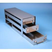 Rack a cassetti acciaio &#44 3 cassetti x 3 box microt/vial 2ml&#45Dim 145x444x184 (LxPxH)