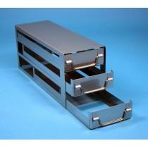 Rack a cassetti acciaio &#44 3 cassetti x 3 box microt/vial 2ml&#45Dim 145x429x173 (LxPxH)