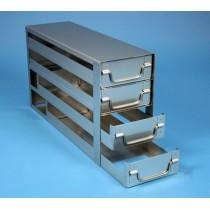 Rack a cassetti acciaio &#44 4 cassetti x 3 box microt/vial 2ml&#44 &#45Dim 145x444x245 (LxPxH)