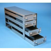 Rack a cassetti acciaio &#44 4 cassetti x 3 box microt/vial 2ml&#45Dim 145x429x231 (LxPxH)