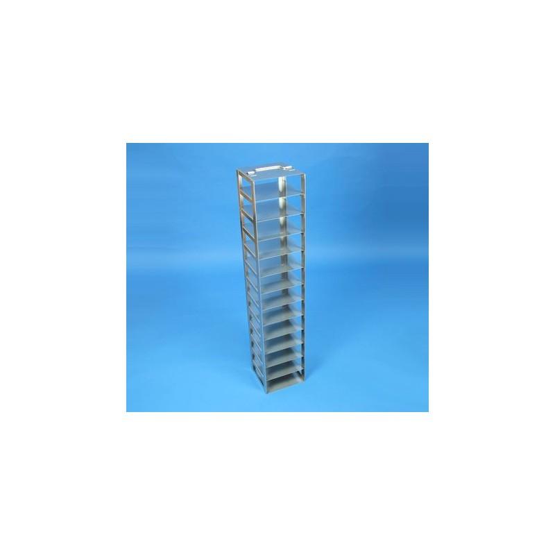 Rack a colonna acciaio &#45 13 posti box per microt/vial 2ml. Dim. 141x141x721