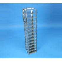 Rack a colonna acciaio &#45 14 posti box per microt/vial 2ml. Dim. 141x141x776