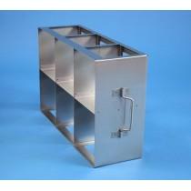 Rack orizzontale acciaio griglia 3x2 (orizz / vert) 6 box per provette tipo Falcon &#45Dim. 414x279x139